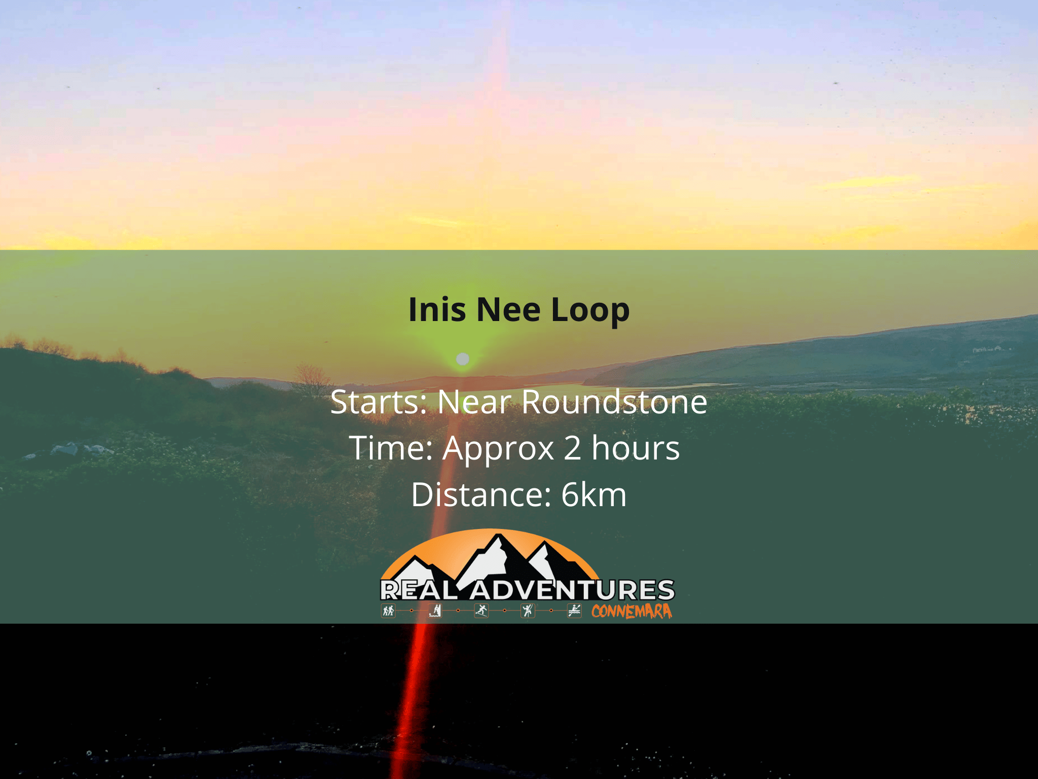 sunset image with text stating walking trail details