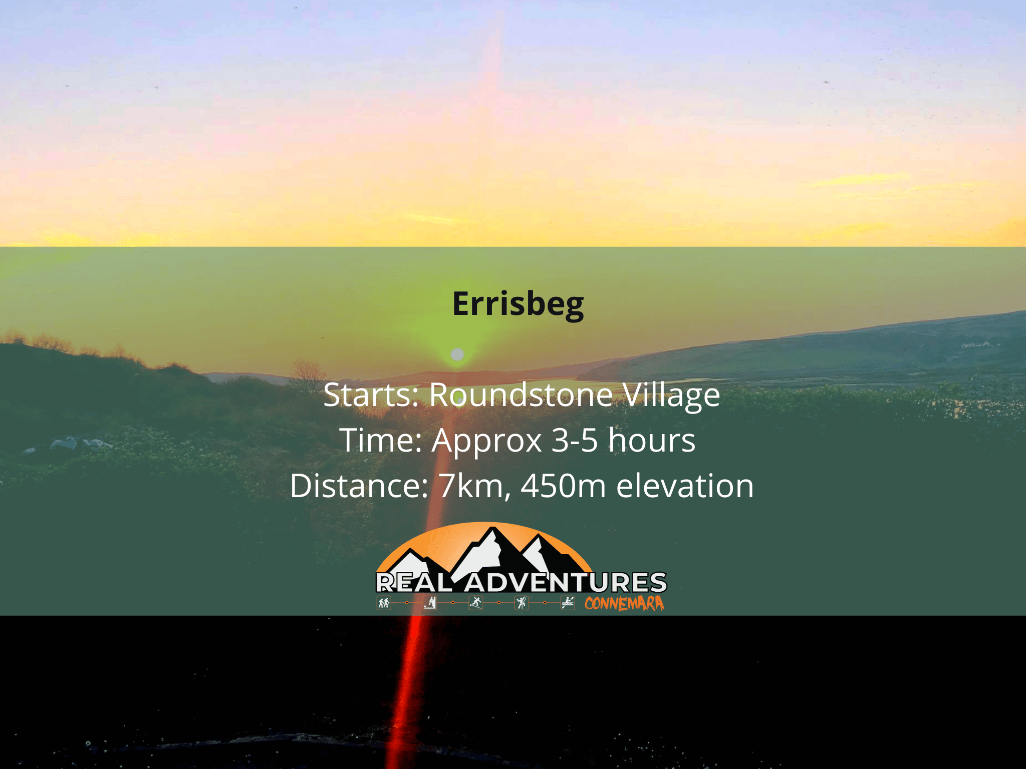 sunset image with Errisbeg walk details in the text box