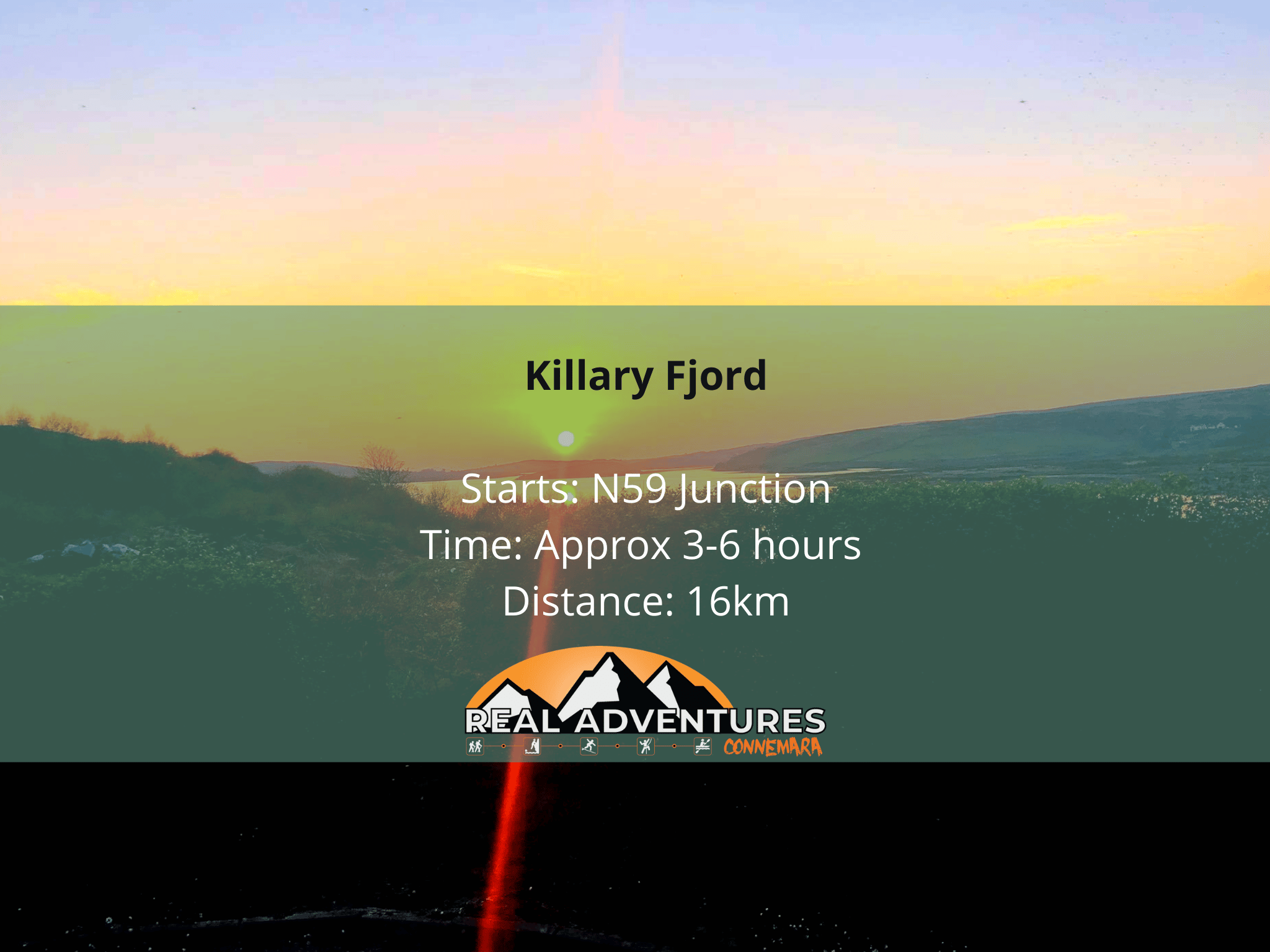 sunset image with killary fjord walk details in text
