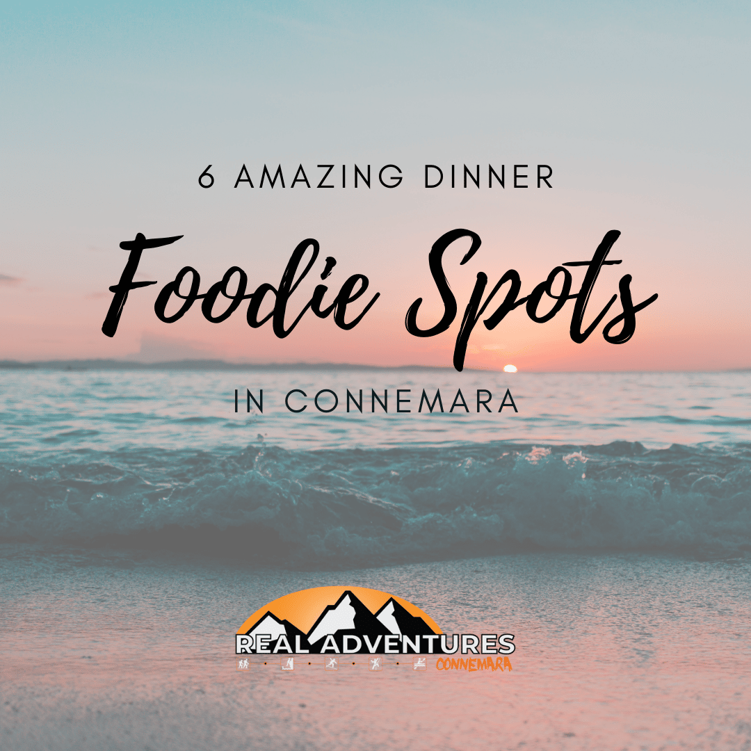 ocean background with text on the photo saying 6 amazing dinner foodie spots in Connemara. Pink and blue sky and tones